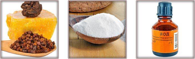 Прополис, соль и йод