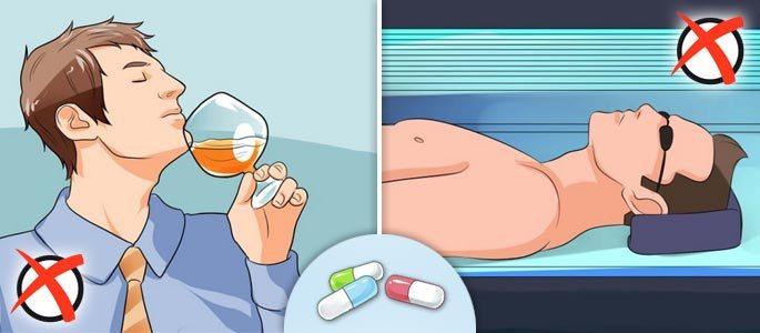 Не рекомендуется совмещать антибиотик с алкоголем и загаром