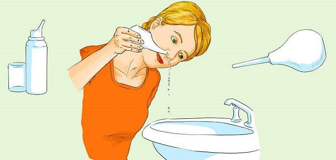 Промывание носа чайничком или сприцовкой