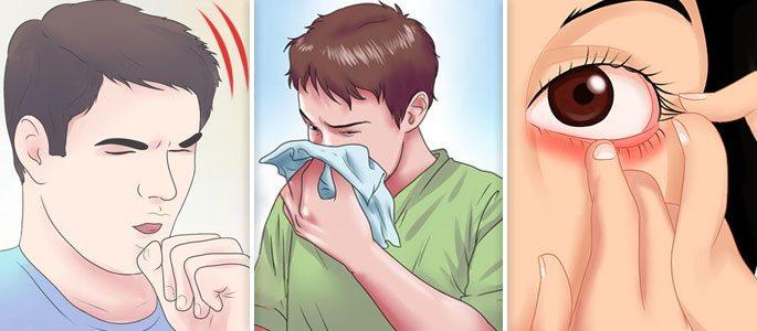 Кашель, конъюктивит, заложенность носа