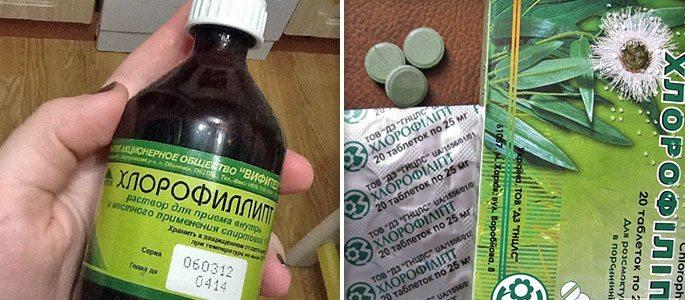 Хлорофиллипт в форме таблеток, масляного и спиртового раствора
