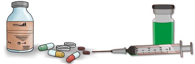 Антибактериальные и секретолитические средства в форме таблеток и инъекций